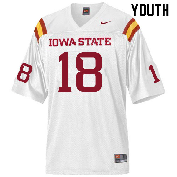 Youth #18 Devin Larsen Iowa State Cyclones College Football Jerseys Sale-White