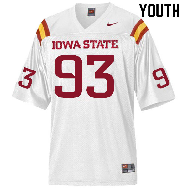 Youth #93 Eddie Ogamba Iowa State Cyclones College Football Jerseys Sale-White
