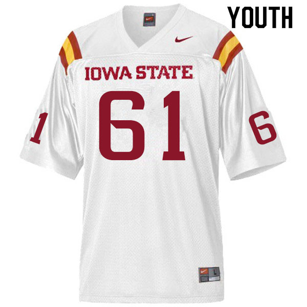 Youth #61 Evan Kilstrom Iowa State Cyclones College Football Jerseys Sale-White