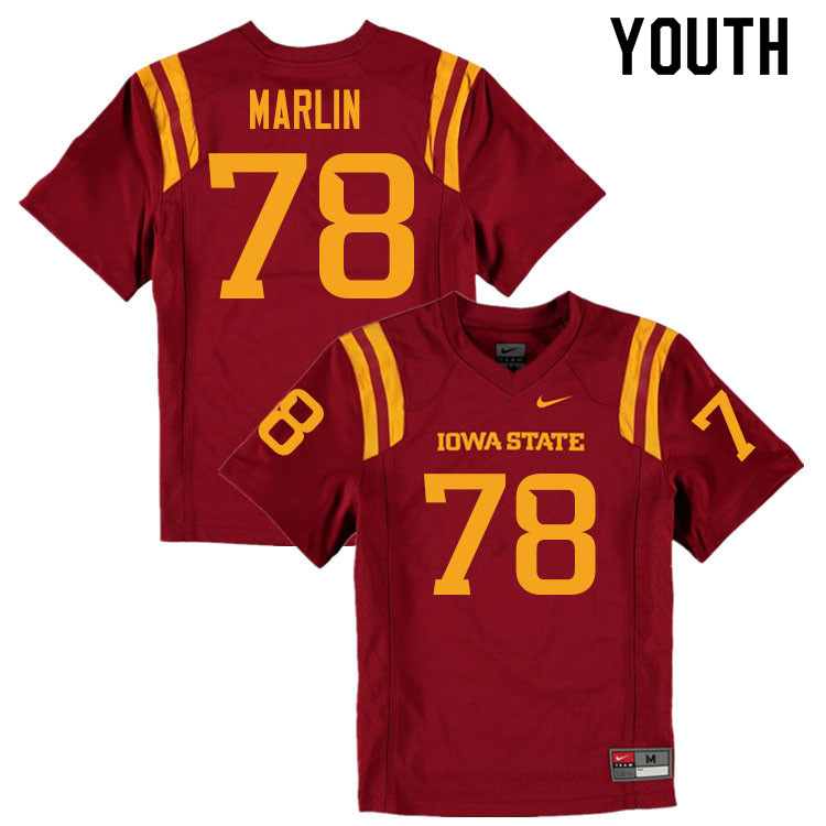 Youth #78 Jeremiah Marlin Iowa State Cyclones College Football Jerseys Sale-Cardinal