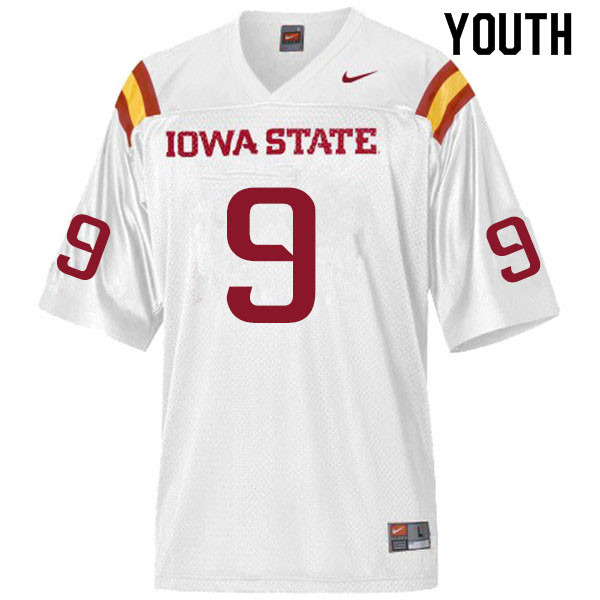 Youth #9 Joe Scates Iowa State Cyclones College Football Jerseys Sale-White
