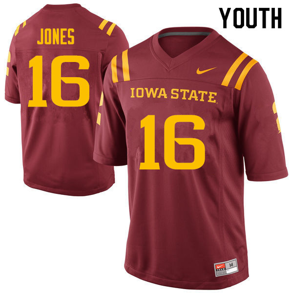 Youth #16 Keontae Jones Iowa State Cyclones College Football Jerseys Sale-Cardinal