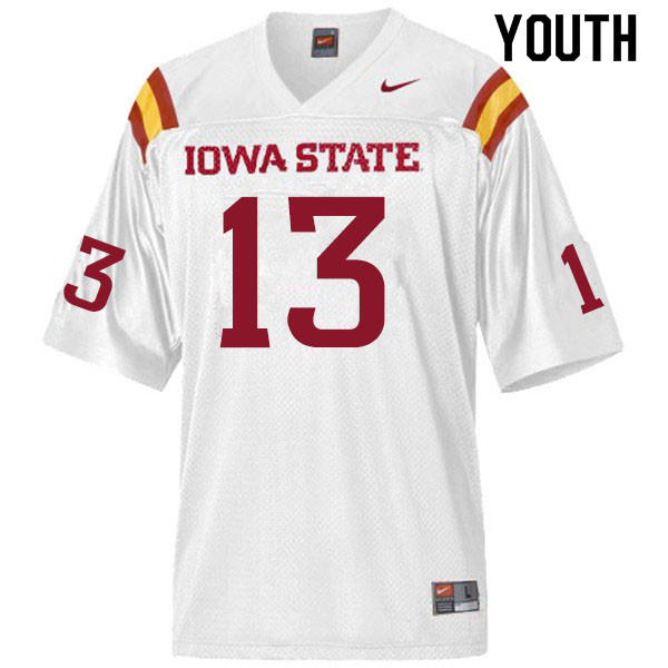 Youth #13 Leonard Glass Iowa State Cyclones College Football Jerseys Sale-White