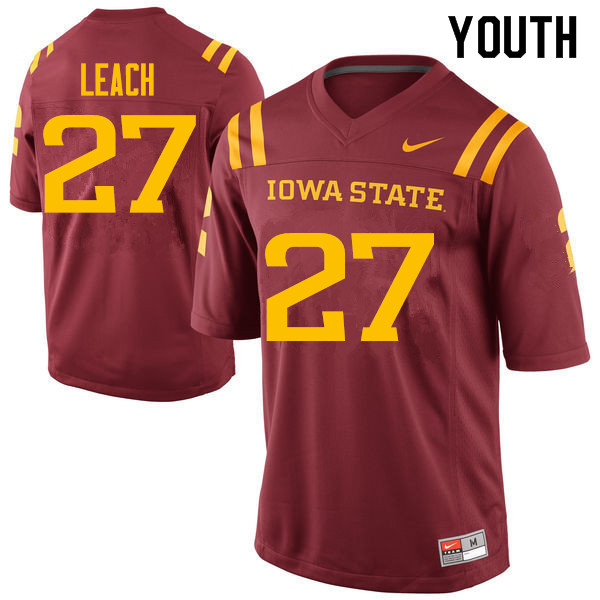 Youth #27 Nick Leach Iowa State Cyclones College Football Jerseys Sale-Cardinal
