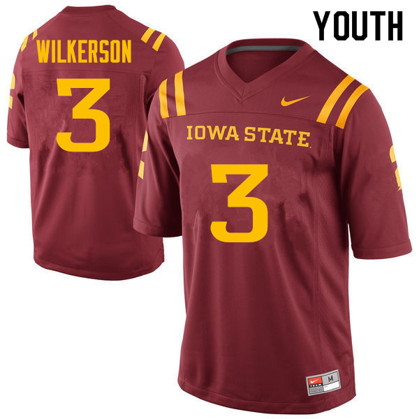 Youth #3 Reggie Wilkerson Iowa State Cyclones College Football Jerseys Sale-Cardinal
