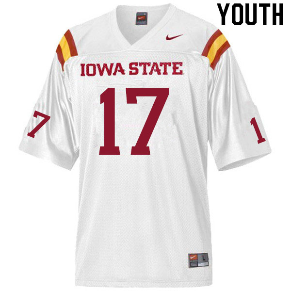Youth #17 Shane Starcevich Iowa State Cyclones College Football Jerseys Sale-White