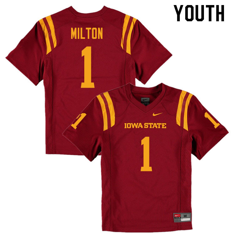Youth #1 Tarique Milton Iowa State Cyclones College Football Jerseys Sale-Cardinal