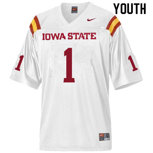 Youth #1 Tarique Milton Iowa State Cyclones College Football Jerseys Sale-White