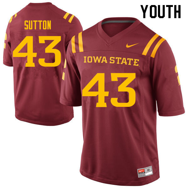Youth #43 Tymar Sutton Iowa State Cyclones College Football Jerseys Sale-Cardinal