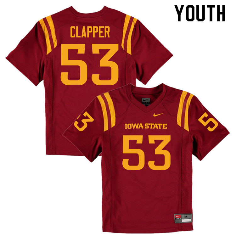 Youth #53 Will Clapper Iowa State Cyclones College Football Jerseys Sale-Cardinal